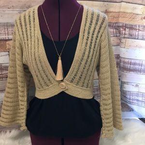 NWT beige gold open weave shrug